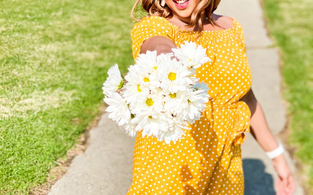 Yellow Polka-Dot Dress for Spring