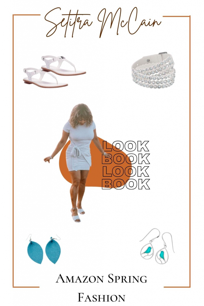 spring styleboard from amazon, girl in dress, earrings, sandlas, bracelet